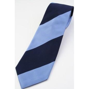 (ウィンザーノット アルバートアベニュー) Windsorknot Albert Avenue Andrew3 スカイブルー&ネイビー レップ織 ボールドブロックストライプ ネクタイ Sky blue&RoyalNavy st14792