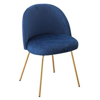 SLY ソフトベルベットのダイニングチェア、バーカフェティーショップメイクショップブライダルショップカウンターラウンジメタル美脚リビングルームの椅子 (Color : A-BLUE)