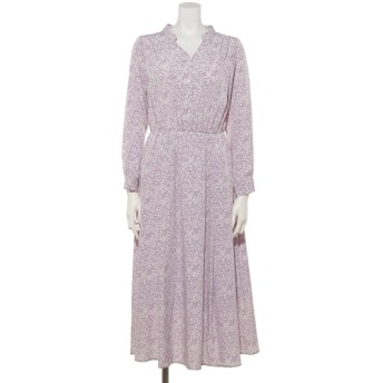 50%OFF Doux archives (ドゥアルシーヴ) 単色花柄長袖シャツワンピース/ LAVENDER