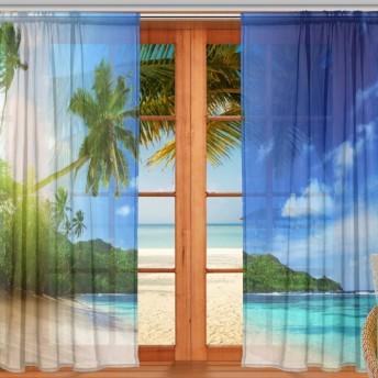 マキク(MAKIKU) ミラーレースカーテン レースカーテン 遮光 断熱 シェードカーテン 遮熱 ドアカーテン おしゃれ 目隠し 洗える 幅140cm×丈213cm 2枚組 海 ハワイ 空 北欧 風景