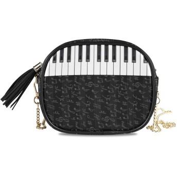 (fohoo) ショルダーバッグ チェーン レディース おしゃれ 音楽 音符 ピアノ 黒白 ミニポシェット 斜めがけ ワンショルダー PU 大容量 小さめ 通勤 通学 プレゼント用