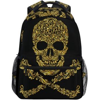 MISCERYリュックサック,ラスターバージョンフローラルゴールドパターンフォーム,大容量の学生の子供のバックパックの若者の男性と女性は、ファッション性格カスタムパターン旅行バッグ耐久性