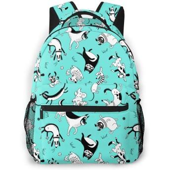 面白いラップドッグハッピーパグ軽量旅行バックパックカジュアルスクールバッグ(女性とティーン向け)