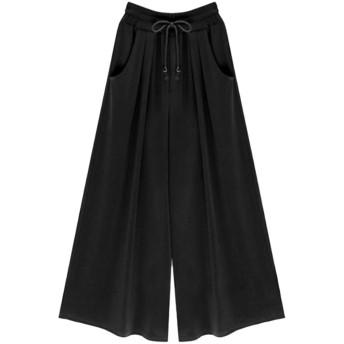 女性パンツの仕事高ウエストドレープワイド脚は、9つのズボンを緩める Black L