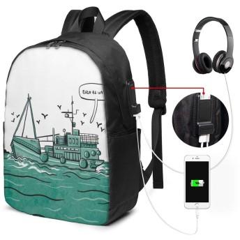 帆船 リュックサック ビジネス リュック バックパック PCバッグ 33L大容量 防水 USB充電ポートとヘッドホンジャック付き 耐傷付き 通勤 通学 旅行 出張 メンズ レディース 男女兼用 バッグ