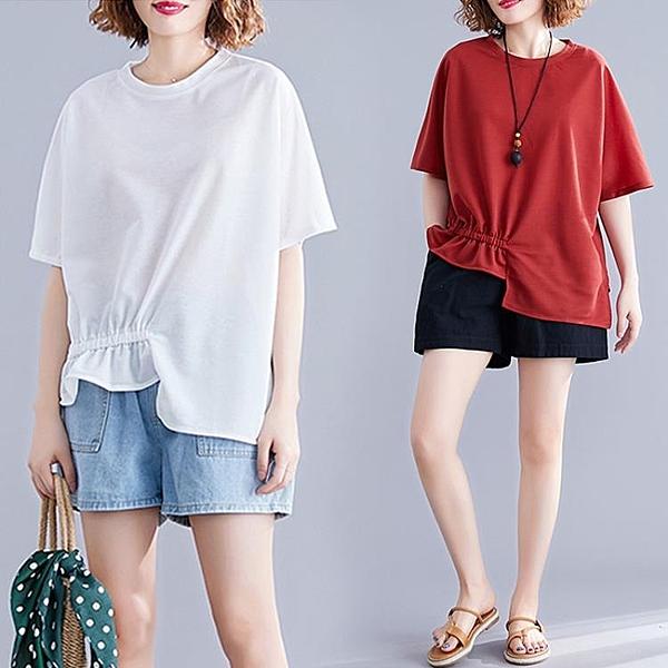 大碼T恤寬鬆顯瘦不規則簡約遮肚上衣女2020夏裝新款胖妹妹減齡潮