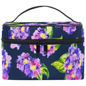 紫の花化粧品 バッグ オーガナイザー ジッパー メイク バッグ ポーチ トイレタリー ケース 女の子 女性用