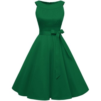 TimorMode レディーズ ドレス コットン ワンピース ひざ丈 丸襟 リボン付き ノースリーブ Aライン 結婚式ドレス グリーン S