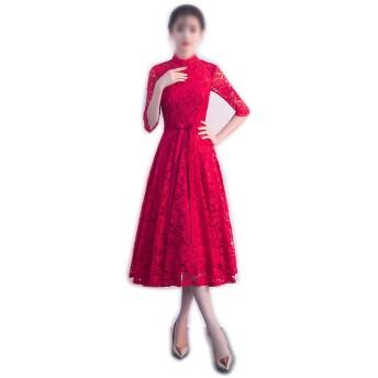 Jtydj 女性の高い襟長袖レースのイブニングドレス (色 : ワインレッド, サイズ : XS)