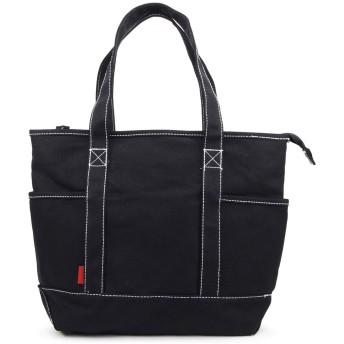 (Marib select) 16oz厚手 トートバッグ キャンバス 帆布 トート ファスナー A4 大容量 ちょうどいいサイズ メンズ レディーズ #c383 (ブラックxブラック)