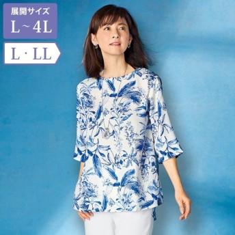 総柄ブラウス / L LL / 50代 60代 70代 80代 ファッション シニア ミセス レディース 婦人服 百貨店販売商品 大きいサイズ