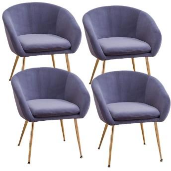 HEJINXL キッチンチェア 4個セットダイニングチェアソフトベルベットアームチェアフレーム錬鉄滑り止めマット360度調整可能にとって居間の寝室のオフィスのレセプションの椅子 (Size : D)