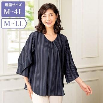 ストライプデザインブラウス / M L LL / 50代 60代 70代 ファッション シニア ミセス レディース 婦人服 大きいサイズ