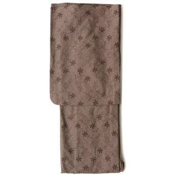 [でぃあじゃぱん] 着物 刺しゅう ラメ デニム ブラウン グレー 花 シック レース 単衣 仕立て上がり レディース 刺繍