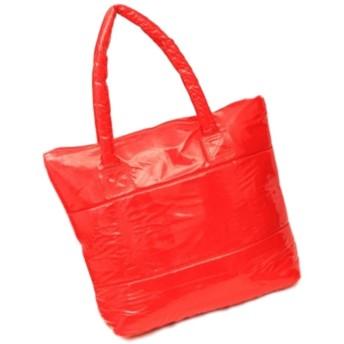 おしゃれ エナメル 大きい トートバッグ ラメ 大容量 a4 肩掛け 手提げ レディース かわいい シンプル デザイン カラフル (赤)