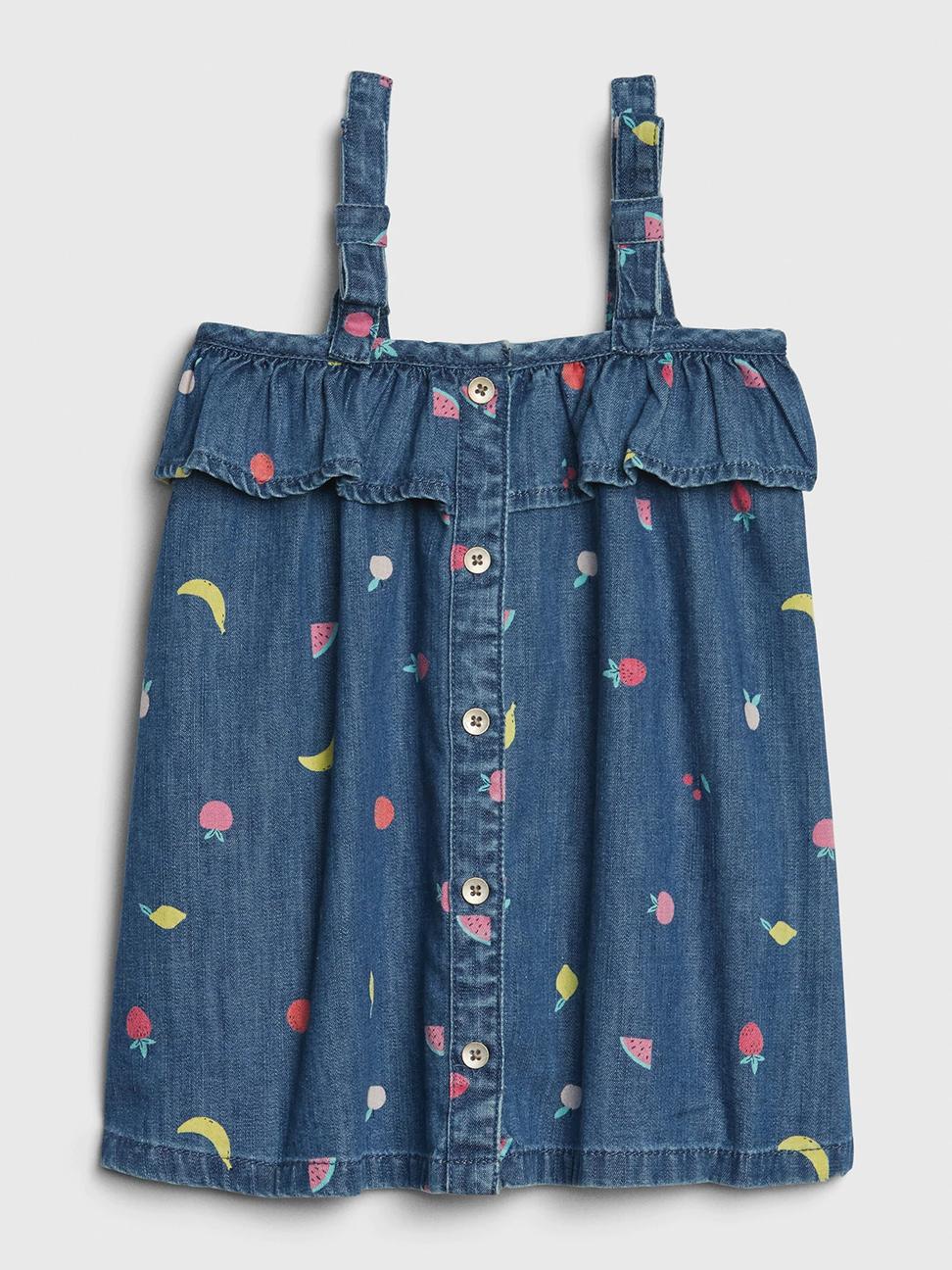 嬰兒 童趣水果印花吊帶洋裝