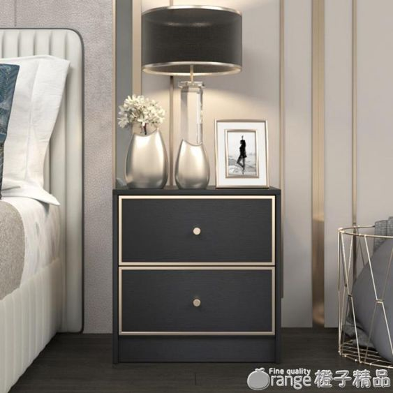 輕奢后現代簡約時尚床頭櫃黑白色INS風臥室金屬邊收納儲物小櫃子