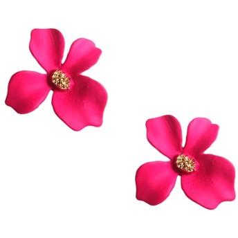 3色から マットビビットカラー フラワーピアス (ピンク)