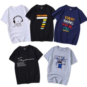 Tシャツ 半袖 服 メンズ 夏 5点セット カジュアル カットソー ファッション 丸襟 柔らかい 快適 (混色, 2XL)