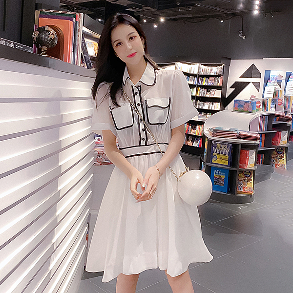 超殺29折 韓國風氣質POLO領淑女清爽歐根紗短袖洋裝