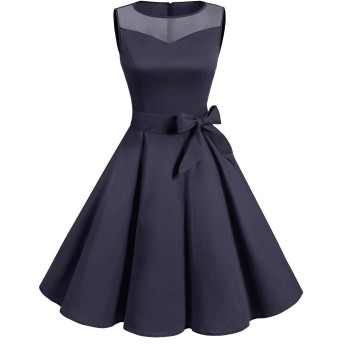 Dresstell(ドレステル) スイングワンピース ウィンテージスタイル 50年代 ベルト付き お呼ばれ 結婚式ワンピース ネイビー 2XLサイズ