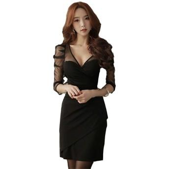 [ミニマリ] タイトドレス パーティー用 vネック お呼ばれ 大きいサイズ キャバドレス 可愛い ブラックフォーマル 黒 Lサイズ