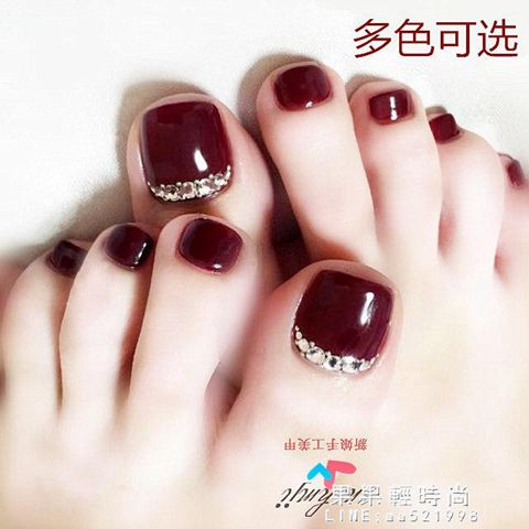 酒紅腳趾甲貼片美甲假指甲成品鑲?穿戴式腳指甲貼光療手工甲片