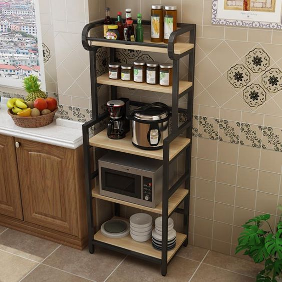 廚房置物架落地式多層收納架子微波爐烤箱放碗櫃子儲物架神器鍋架NMS