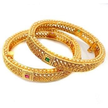 JoyeriaジルコンファッションIndianファッショナブルなゴールド光沢ruby-green組み合わせストーンバングルペア