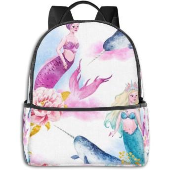 Mermaids Unicorn-fish Narwhal ハイエンドのファッションシンプルで美しいファッションバックパック屋内および屋外の四季は、印刷プロセスフルフレーム印刷デザインを転送します