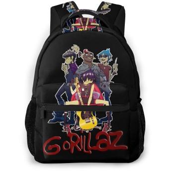 おしゃれ カジュアル 軽く Gorillaz ゴリラズ ショルダーバッグ 大容量 子供 通用する リュック 通学 旅行 運動 ランドセル Black