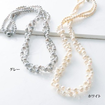 淡水パール2連ネックレス / 50代 60代 70代 80代 ファッション シニア ミセス レディース 婦人