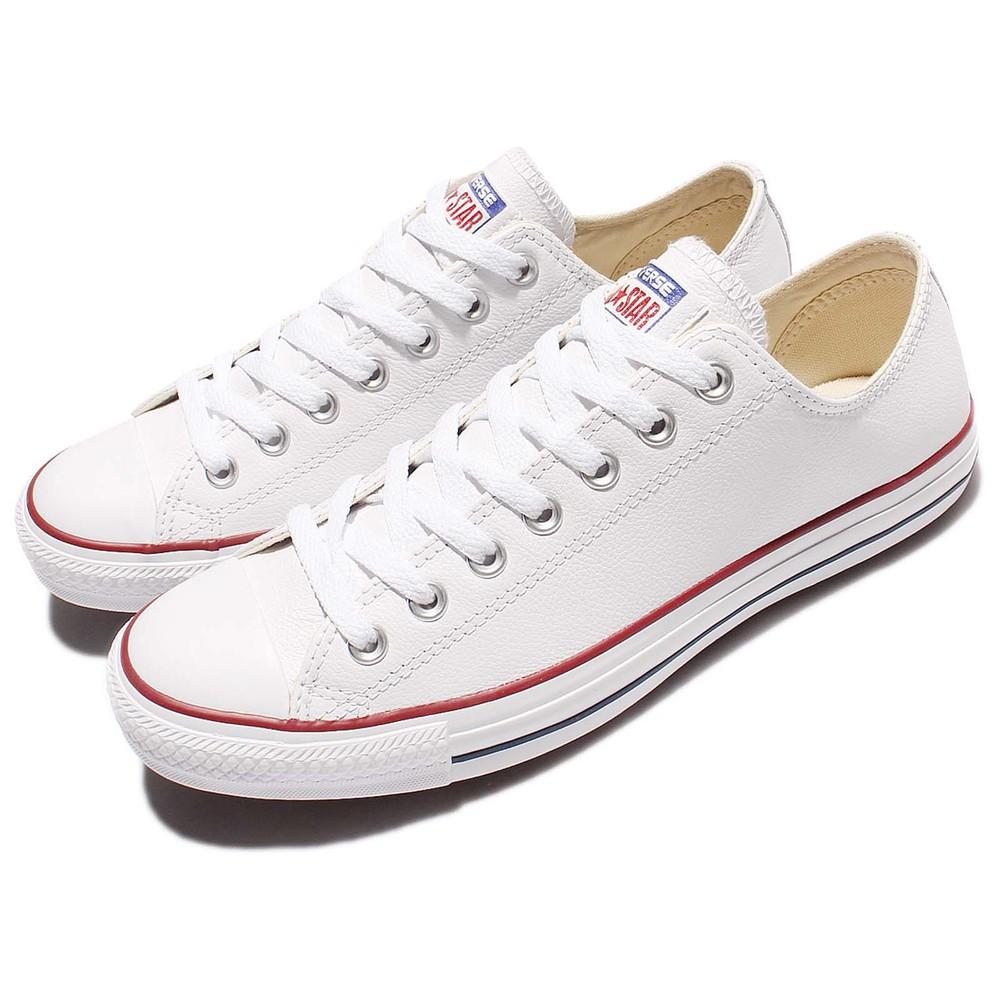 CONVERSE 休閒鞋 Chuck All Star 男鞋 女鞋 情侶鞋 低筒 復古 皮革 基本款 白 紅 [132173C]