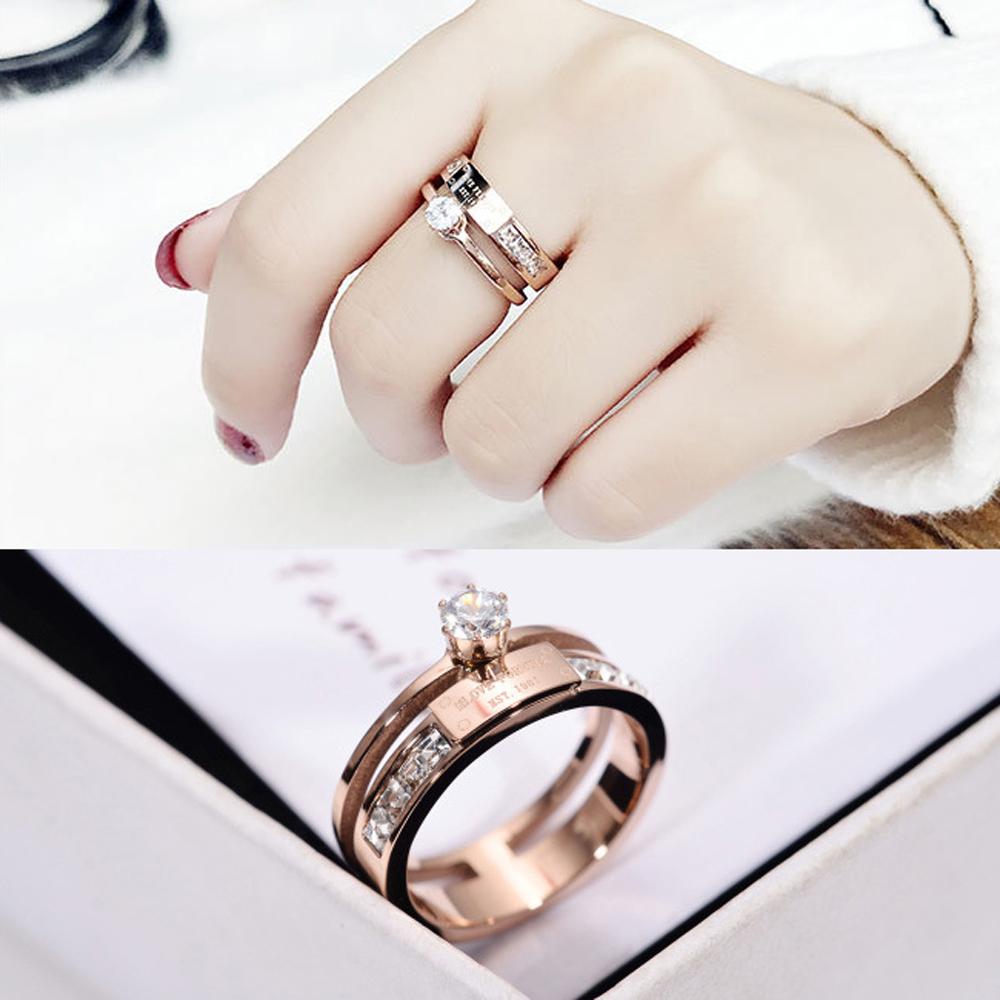 【伊飾童話】閃耀密碼*雙層鈦鋼碎鑽戒指/尺寸可選