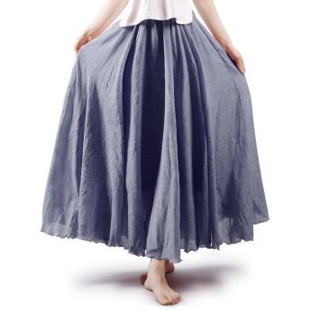 OCHENTA(オチェーンタ)レディース ロングスカート 広幅 ふんわり 森ガール 無地 マキシスカート シンプル セレブ ウエストゴム 透けない 綿麻 Aライン リネン グレー 95CM