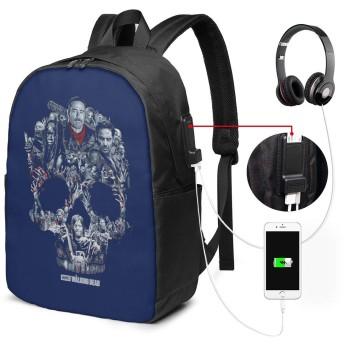 リュックサック ウォーキング デッド カジュアル カレッジバッグ ブックバッグ USBポート搭載 軽量 イヤホン穴付き 17インチ収納 バックパック ショルダーバッグ PCリュック 男女兼用 ブラック