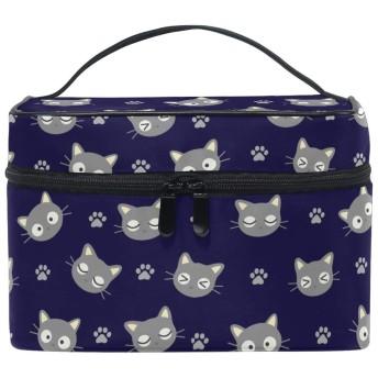 Natax メイクポーチ 化粧ポーチ バニティケース子供のイラスト 猫 旅行 出張用バック 雑貨 小物入れ ハンドル付き 防水 男女兼用 細かく整理できる仕切り付き 可愛い ねこ