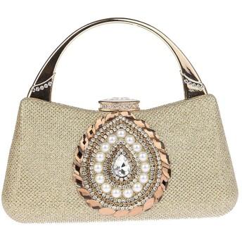 ラインストーン女性のクラッチ財布キラキラビーズの女性クロスボディイブニングバッグブライダルウェディングバッグハンドバッグウエディングバッグ財布,Gold