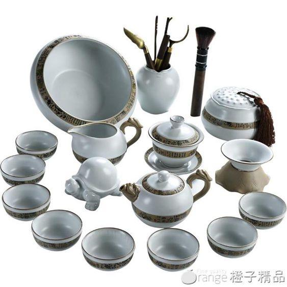 美閣哥窯功夫茶具套裝家用中式簡約汝窯釉開片陶瓷泡茶壺蓋碗茶杯