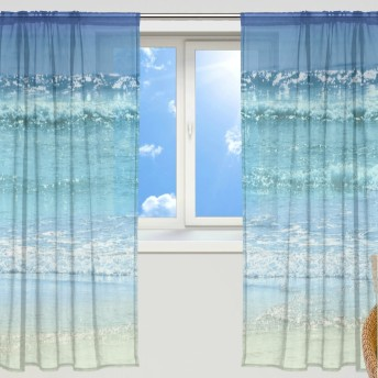 マキク(MAKIKU) ミラーレースカーテン 遮光 断熱 遮熱 レースカーテン 出窓 ドアカーテン おしゃれ ハワイ 北欧 海洋 波 ブルー シェードカーテン UVカット 薄い 目隠し 幅140cm×丈200cm 2枚組