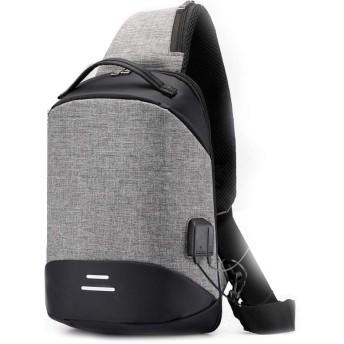 Ecentaur メンズ ボディバッグ ワンショルダー バッグ 斜めがけ 軽量 バッグ USBポート iPad収納可 チェストバッグ