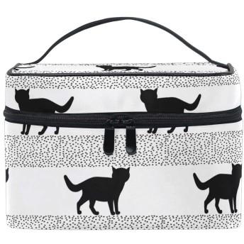 Natax 化粧ポーチ 大容量 かわいい おしゃれ 機能的 バニティポーチ 収納ケース ポーチ メイクポーチ ボックス 小物入れ 仕切り 旅行 出張 持ち運び便利 コンパクト猫柄 可愛い ねこ