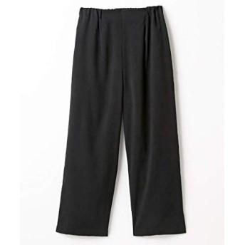 [nissen(ニッセン)] パンツ 太もも周りスッキリ見せ やわらかフェイクスエードワイドパンツ 黒 LL