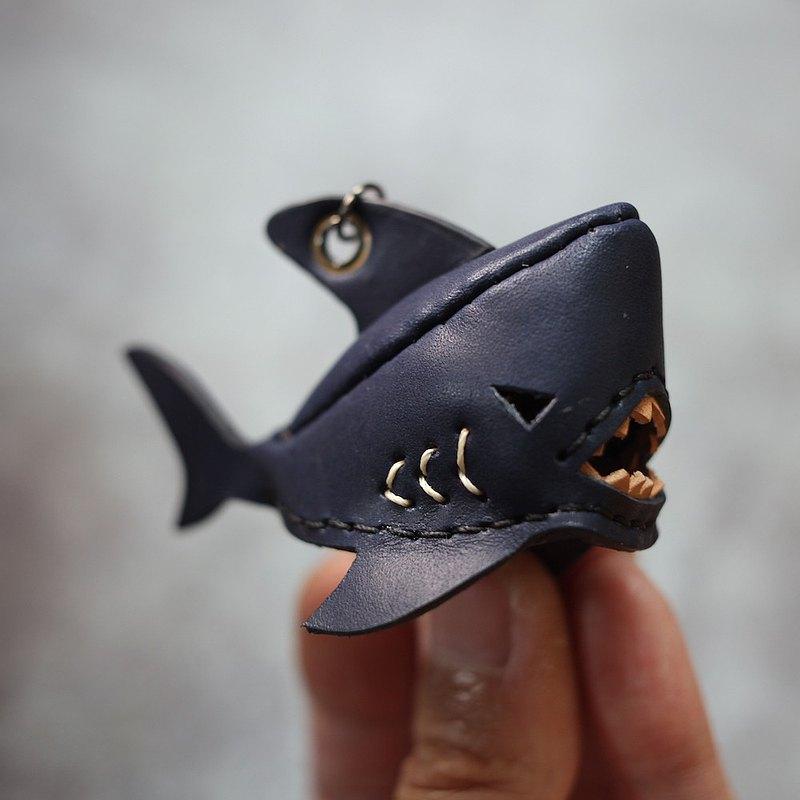 純手工製 迷你 深藍 鯊魚 鑰匙圈 shark Key holder