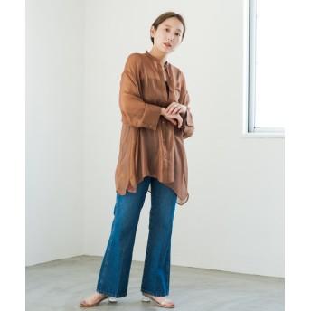 Kastane(カスタネ) レディース シャイニーシフォンビッグシャツ ブラウン