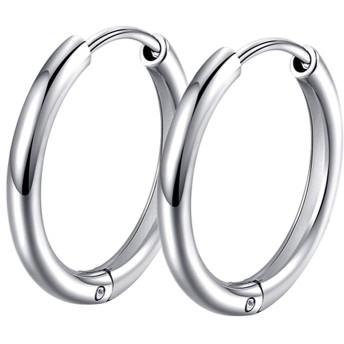 Ostory 男女兼用 シンプルな フープピアス リング フープ ピアス シルバー925純銀製 ピアス レディース メンズ アクセサリー 金属アレルギー対応