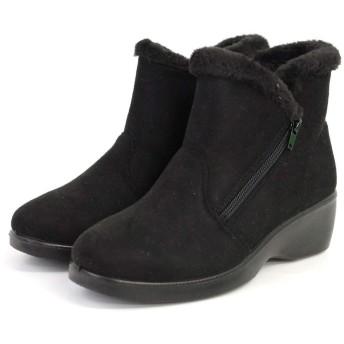 [アミアミ] ファー スエード ボア ショート ブーツ レディース (L(23.5cm〜24.0cm), ブラック)