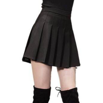 レディーススカート 女性用ベーシックハイウエストカジュアルミニスカートストレッチスカートハイウエストAラインフレアスケーターミニスカート (Size : M)