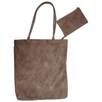 ミニ ポーチ付き フェイク レザー トートバッグ ブラウン 肩掛け かばん 鞄 ユニセックス ランチバッグ ランドリーバッグ エコバッグ ショッピングバッグ
