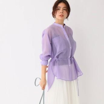 アクアガール aquagirl シースルーベルテッドバンドカラーシャツ (ライトパープル)
